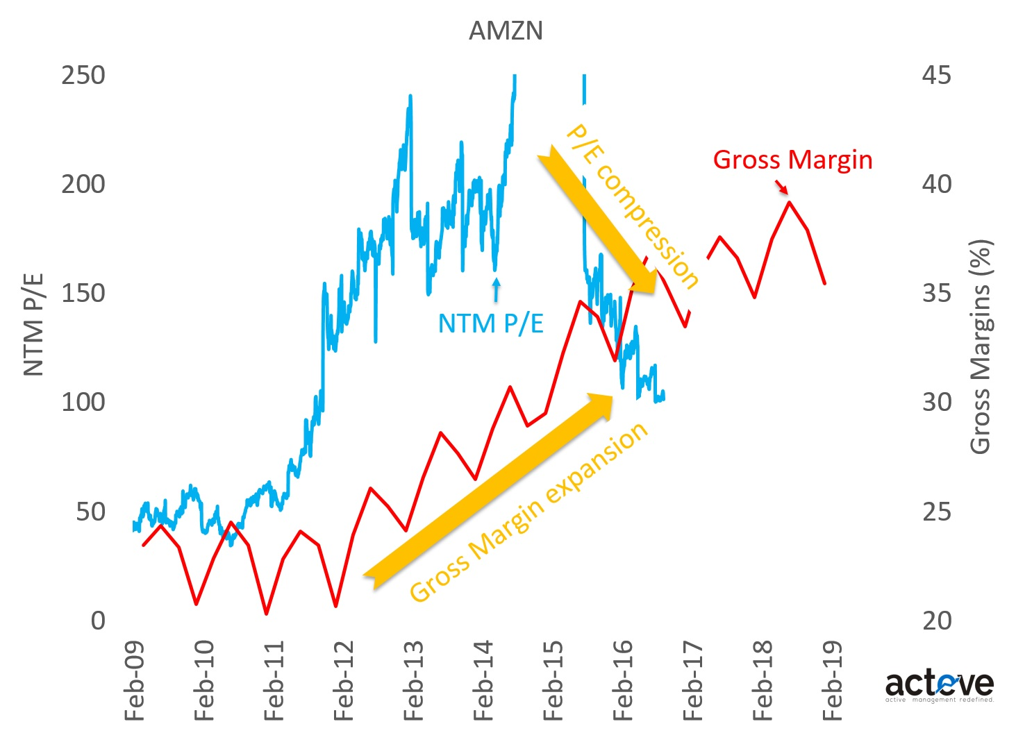 AMZN P/E vs. Gross Margin